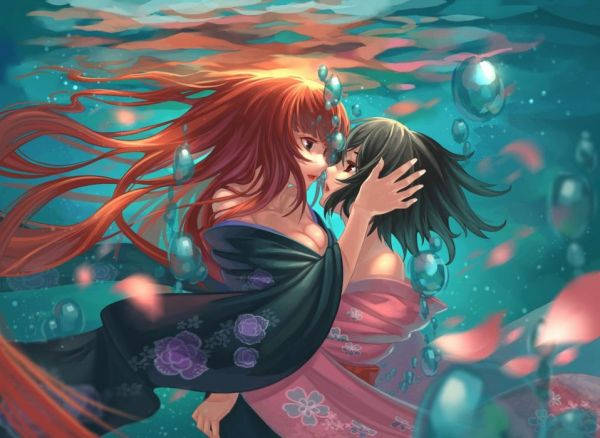 Love Water Anime Girls underwater original mood bubbles