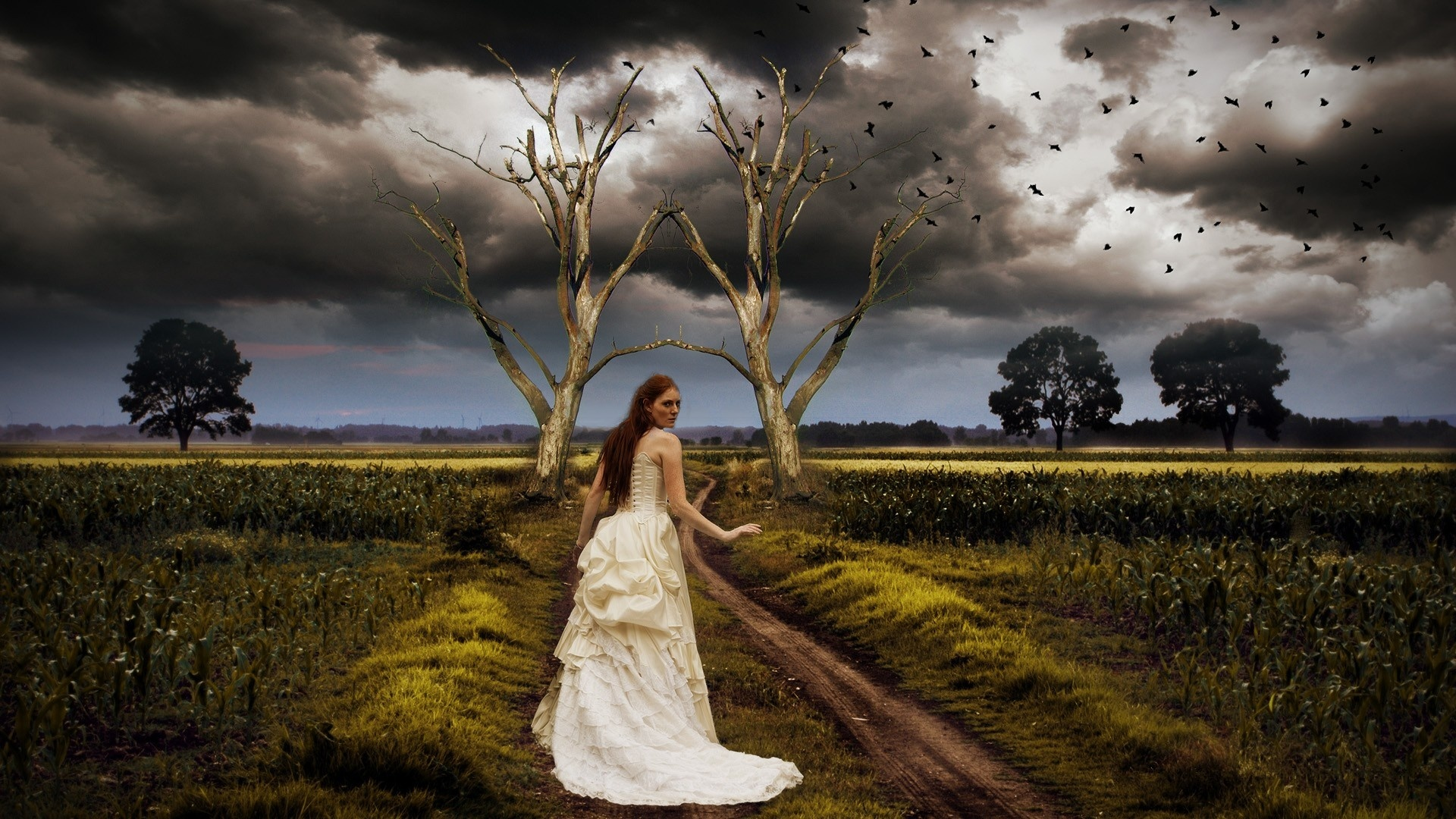 Trance Girl Wallpaper Fantastic Landscape Road Girl Clouds Nature Gothic Redhead