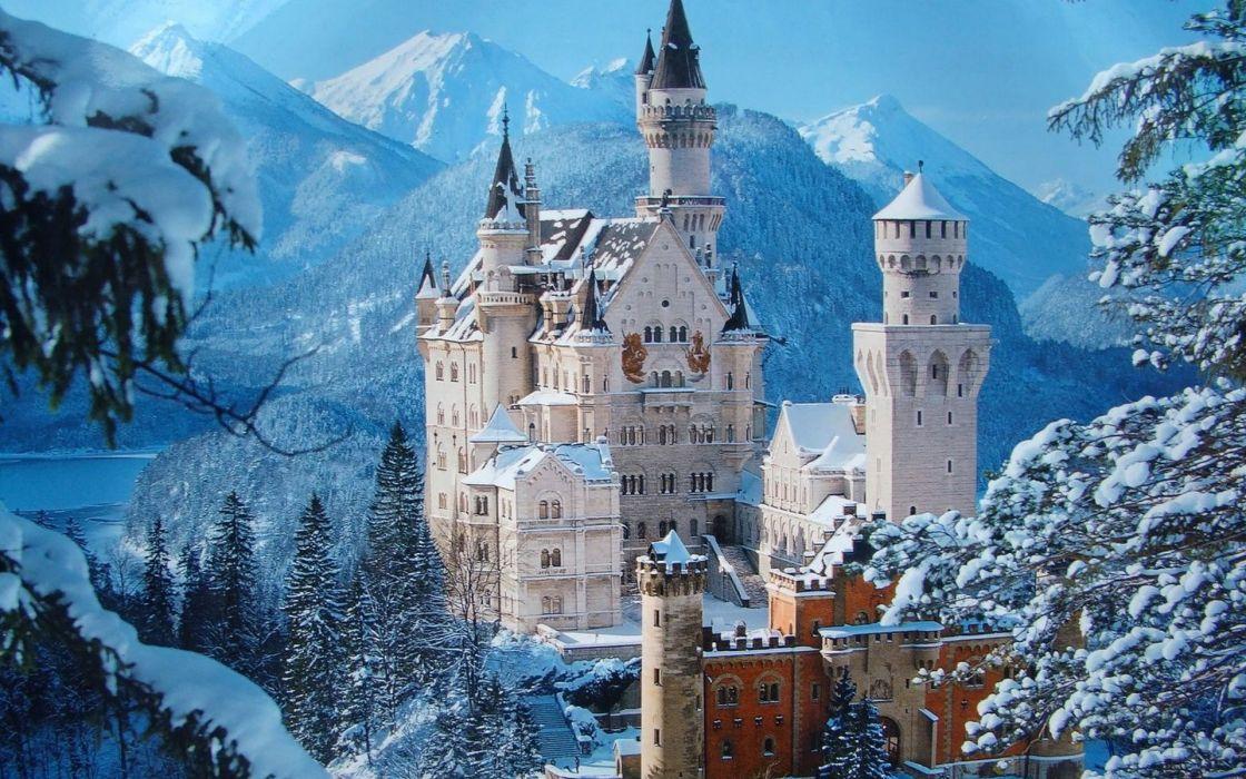Wallpaper Hd Germany Castle Raynshvanshtayn Winter Wallpaper