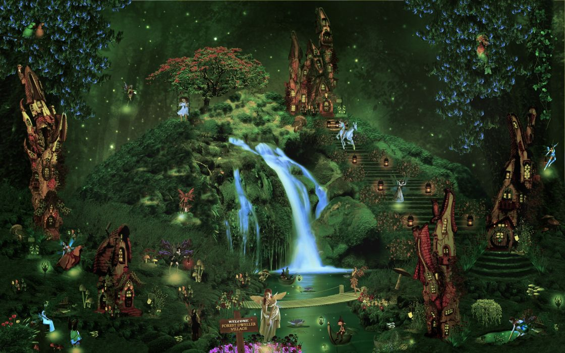 Fantasy Castle City Forest Waterfall Fairy Elf Magical