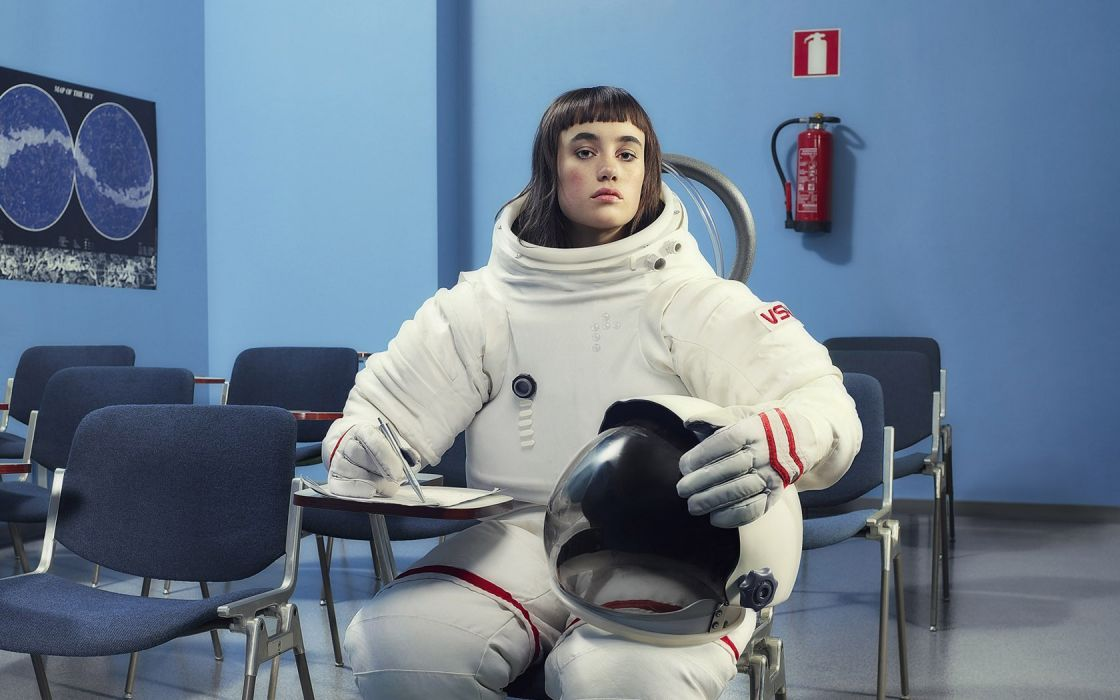 Brunettes women blue funny NASA space suits desks posters