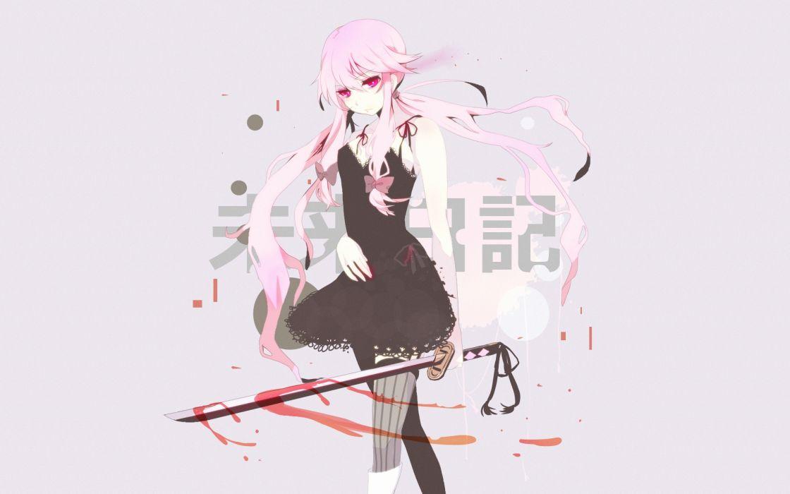 Ninja Girl Wallpapers Hd Mirai Nikki Blood Dress Gasai Yuno Katana Long Hair Mirai