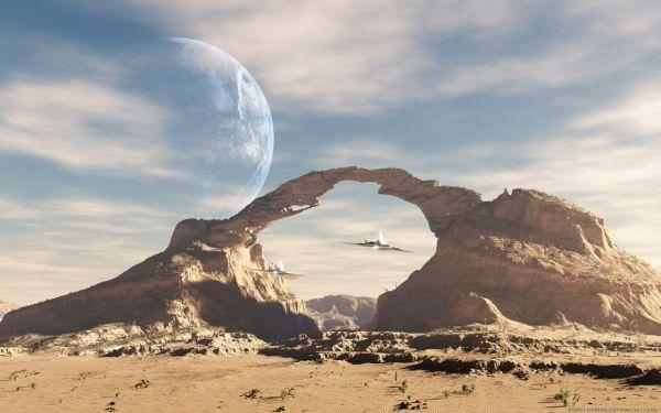 spaceship future alien landscape