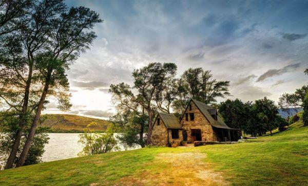 zealand house lake trees landscape