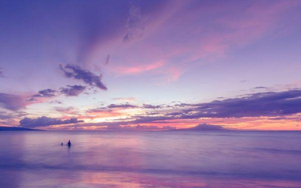 ocean clouds sunset purple beach