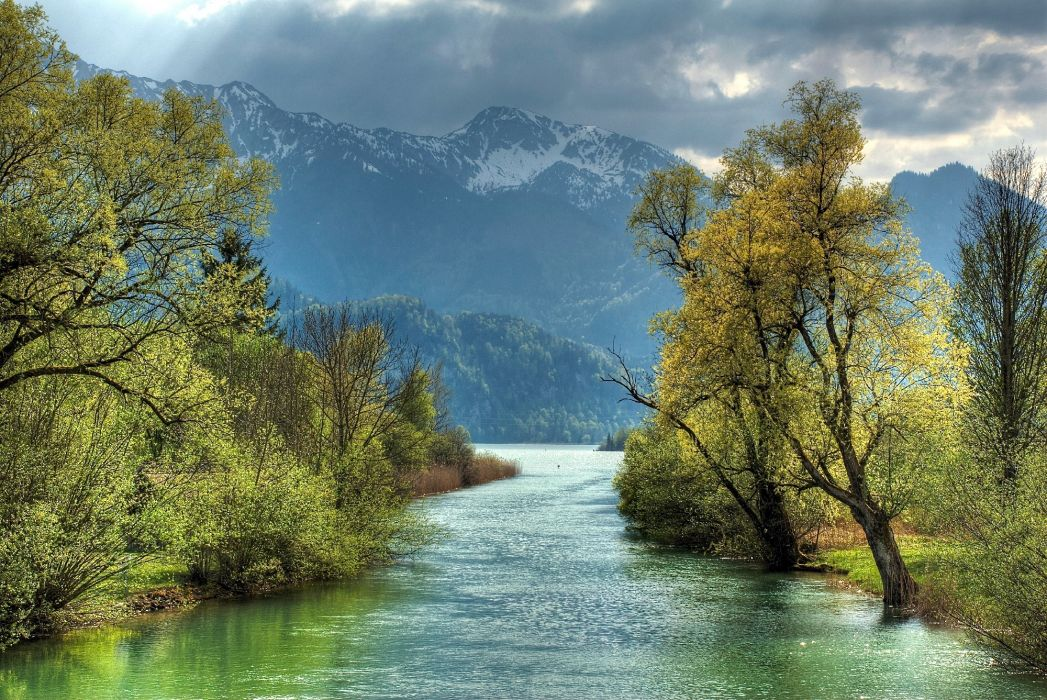 Vector Wallpaper Fall Colors River Mountains Trees Landscape Autumn Wallpaper
