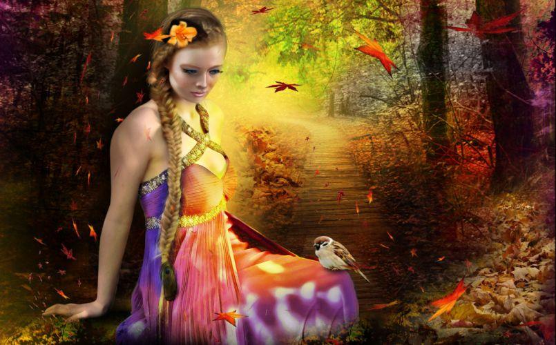 Sweet Small Girl Hd Wallpaper Fantasy Girl Lashes Make Up Hair Braid Flowers Dress