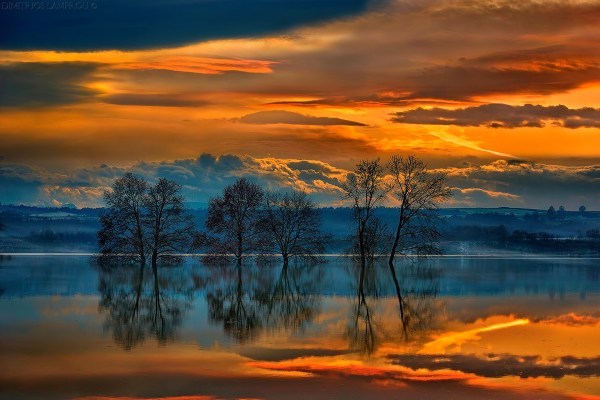 Landscape Sunset Sky Clouds Lake Trees Reflection Greece Wallpaper 1920x1280 169336