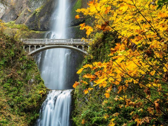 Fall Landscape Computer Wallpaper Multnomah Falls Columbia River Gorge Oregon Waterfall