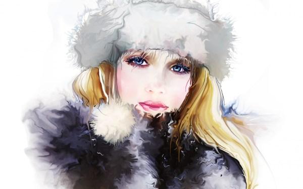 Tatiana Nikitina Girl Face Eyes Eyelashes Hat Hair Winter Art Painting Wallpaper