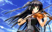 headphones green eyes violins anime