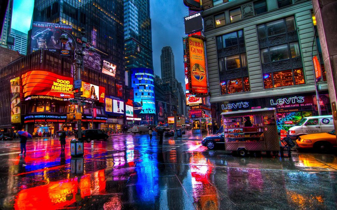 Times Square New York Usa City Cities Neon Lights Night