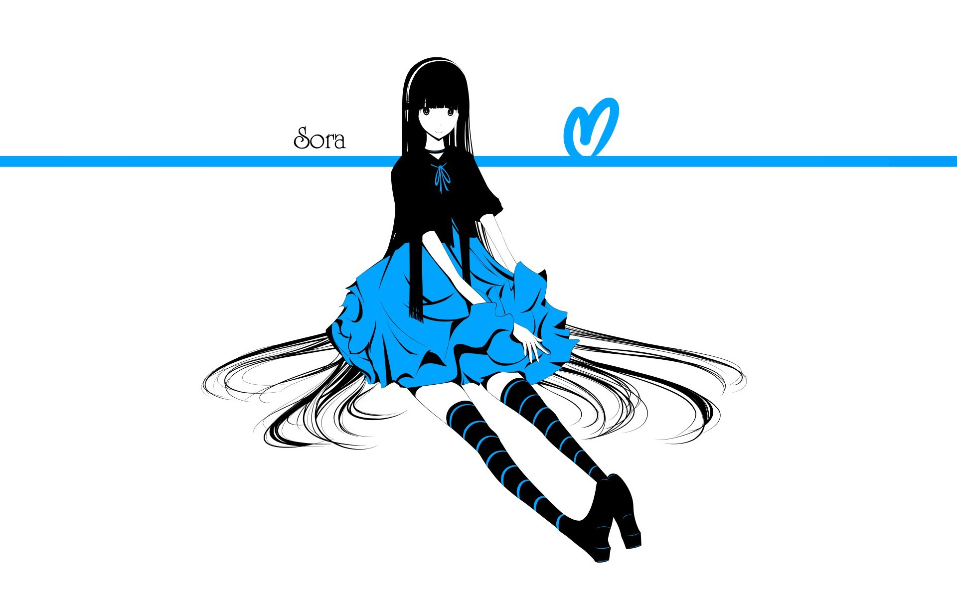 Striped Thigh Highs Anime Girl Wallpaper Dress Text Long Hair Shoes Thigh Highs Smiling Sitting