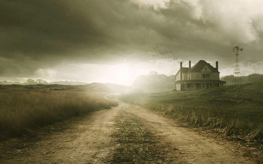 THE WALKING DEAD horror drama landscape house farm road