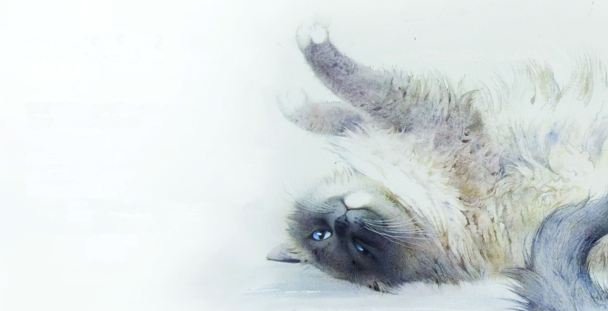Cute Dog Stretching Wallpaper Painting Watercolor Art Cat Stretching Wallpaper