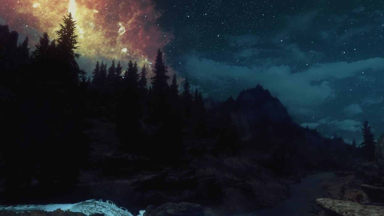 Dual Monitor Wallpaper Cool Girl Nature Screenshots The Elder Scrolls V Skyrim Night Sky