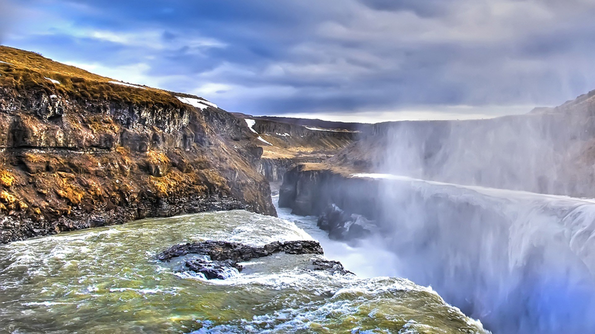 Falling Water Hd Wallpaper Water Iceland Gullfoss Falling Wallpaper 1920x1080