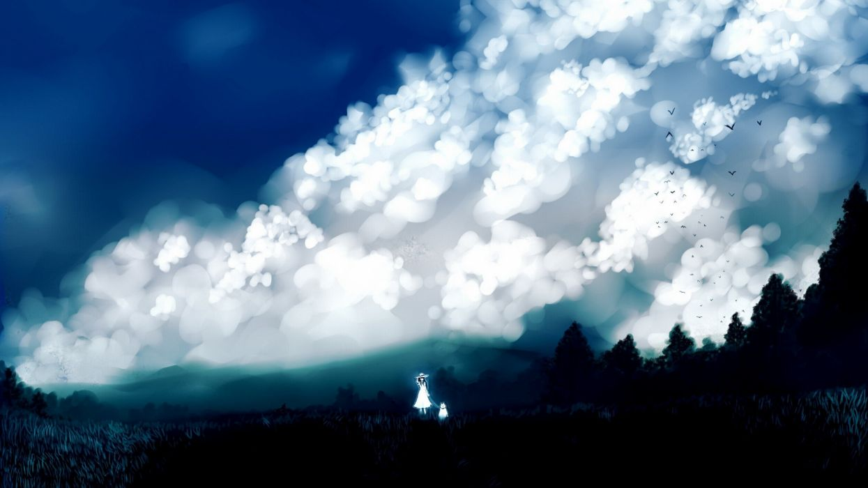 Sick Anime Wallpapers Clouds Landscapes Nature Trees Dress Forests Birds Grass