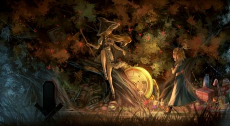 Witches Fall Wallpapers Video Games Touhou Couch Dress Flowers Stockings Blue Eyes