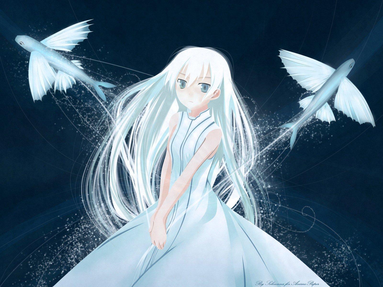 Supernatural Angels Falling Wallpaper Dress Blue Eyes Fish Long Hair White Hair Anime Girls