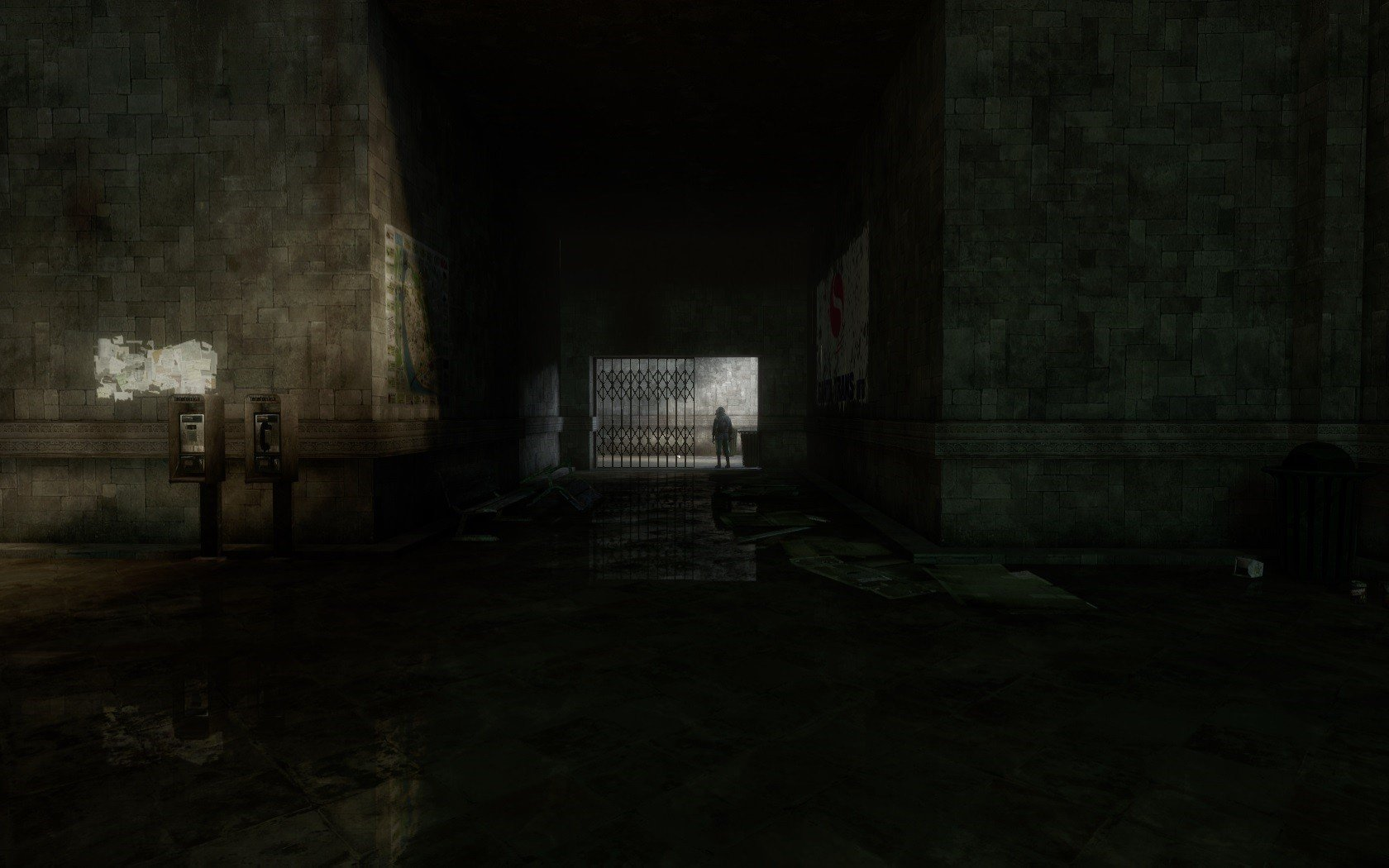 Dark room buildings drawings game wallpaper