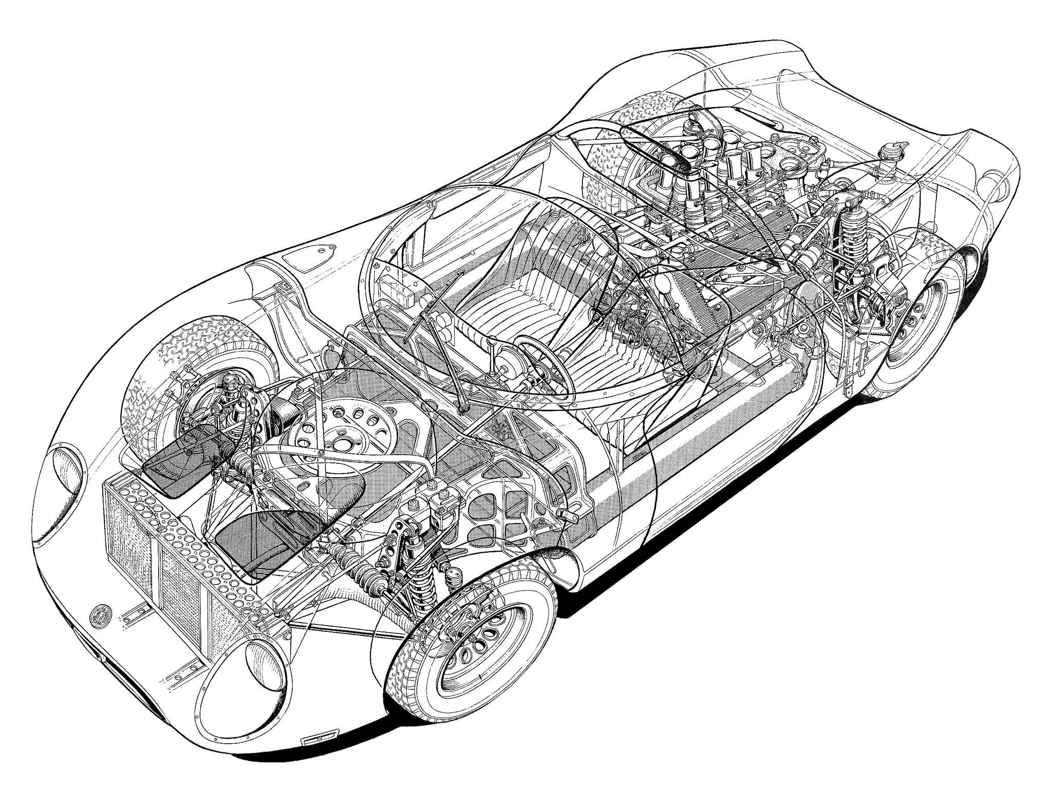 Original Cutaway Drawing Of The Lotus 30 Racing Car By Brian Hatton