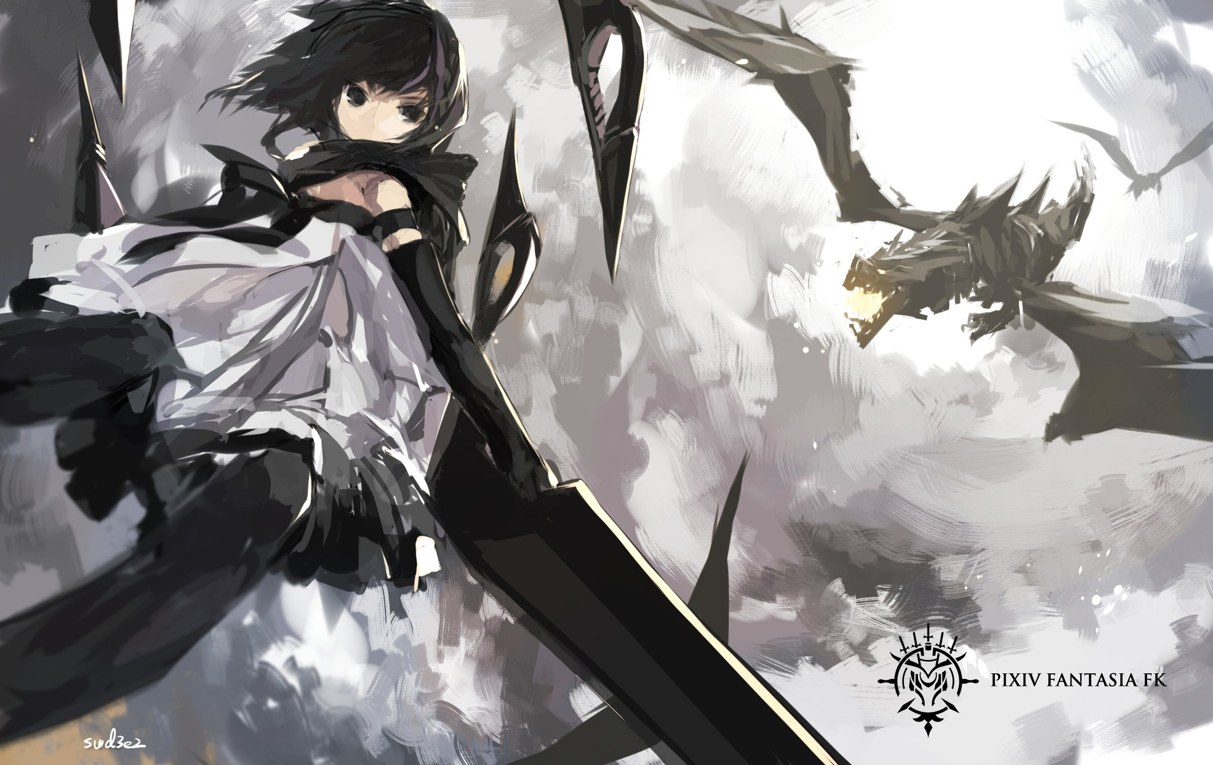 Touhou Fall Wallpaper Black Eyes Brown Hair Dragon Dress Elbow Gloves Pixiv