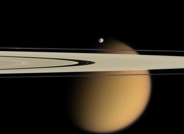 Saturn Rings Moons Titan