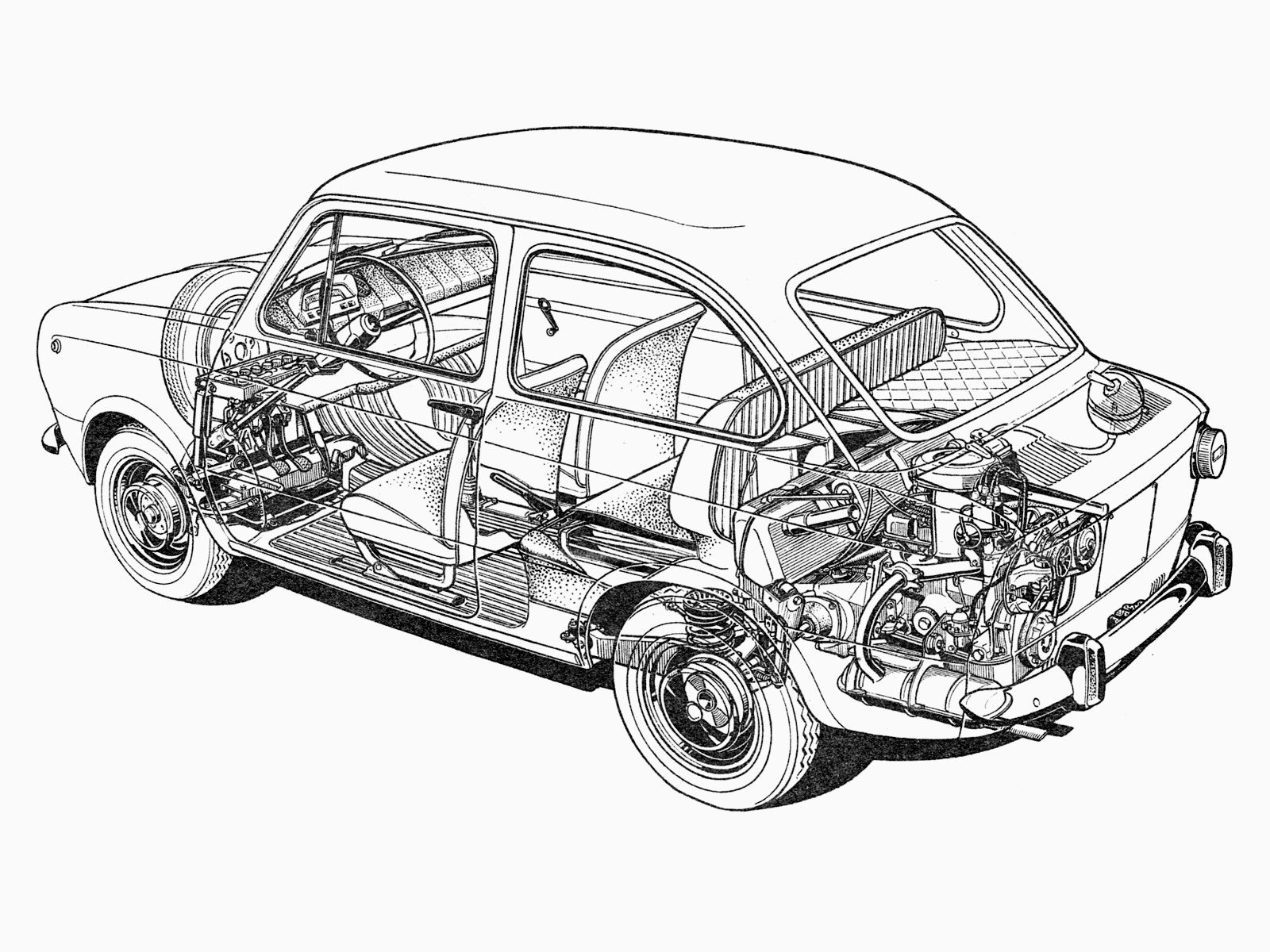 Fiat 850 Classic Interior Engine F Wallpaper