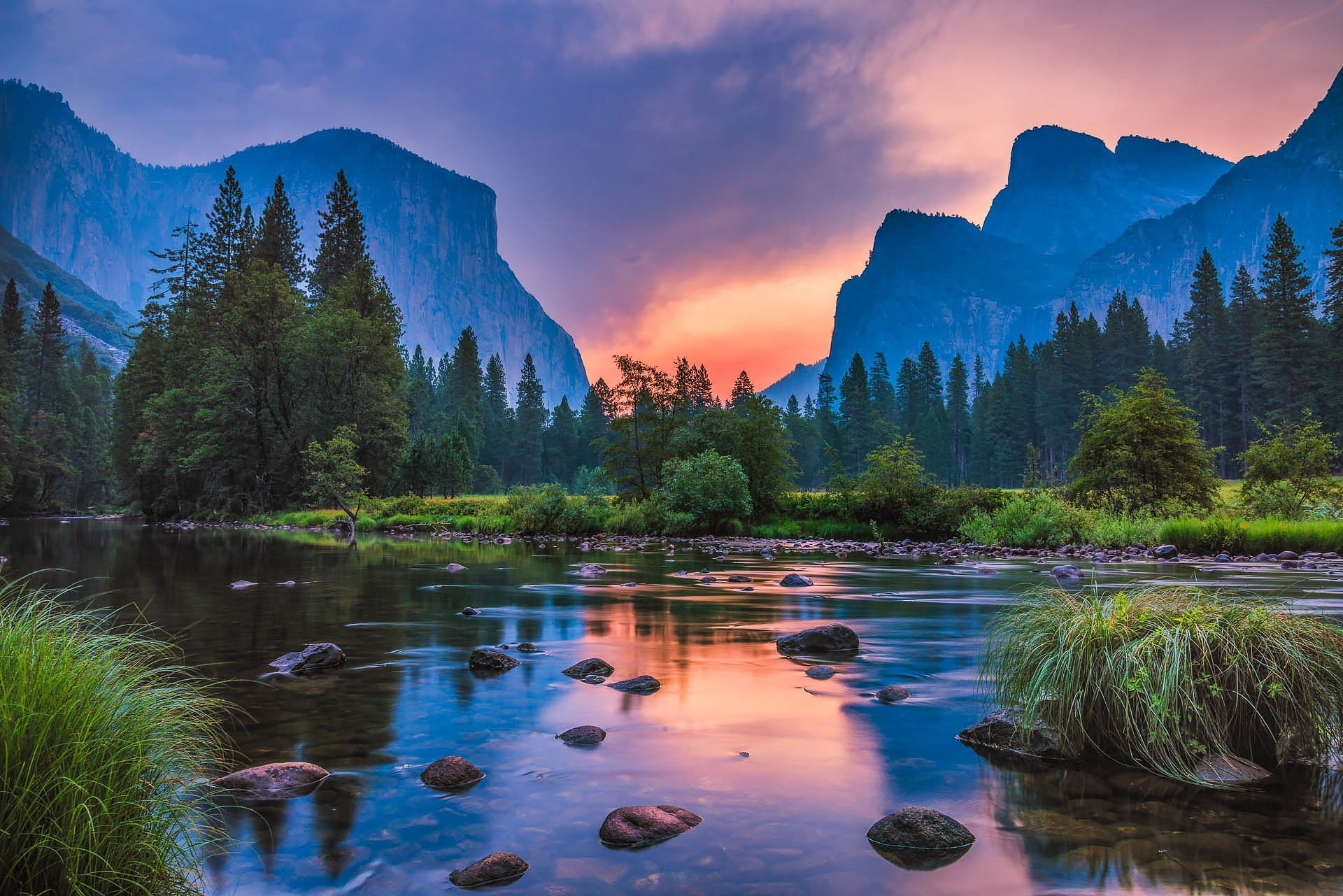 American Paint And Wallpaper Fall River Landscape Nature Sunset Mountains River Reflection
