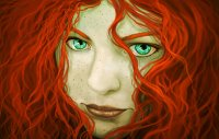 Painting Art Eyes Redhead girl Face Hair Fantasy Girls ...