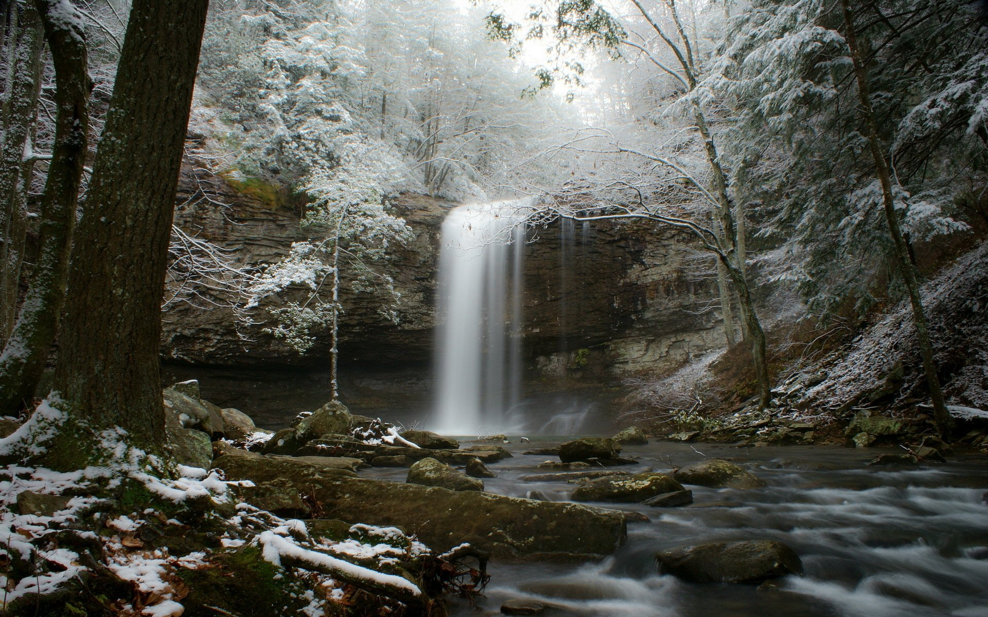 Free Multnoma Falls Winter Wallpaper Stream Snow Forest River Winter Waterfall Wallpaper