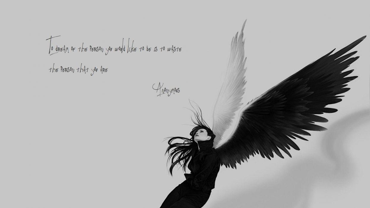 Supernatural Angels Falling Wallpaper Black End White Angel Wings Quotes Sad Wallpaper