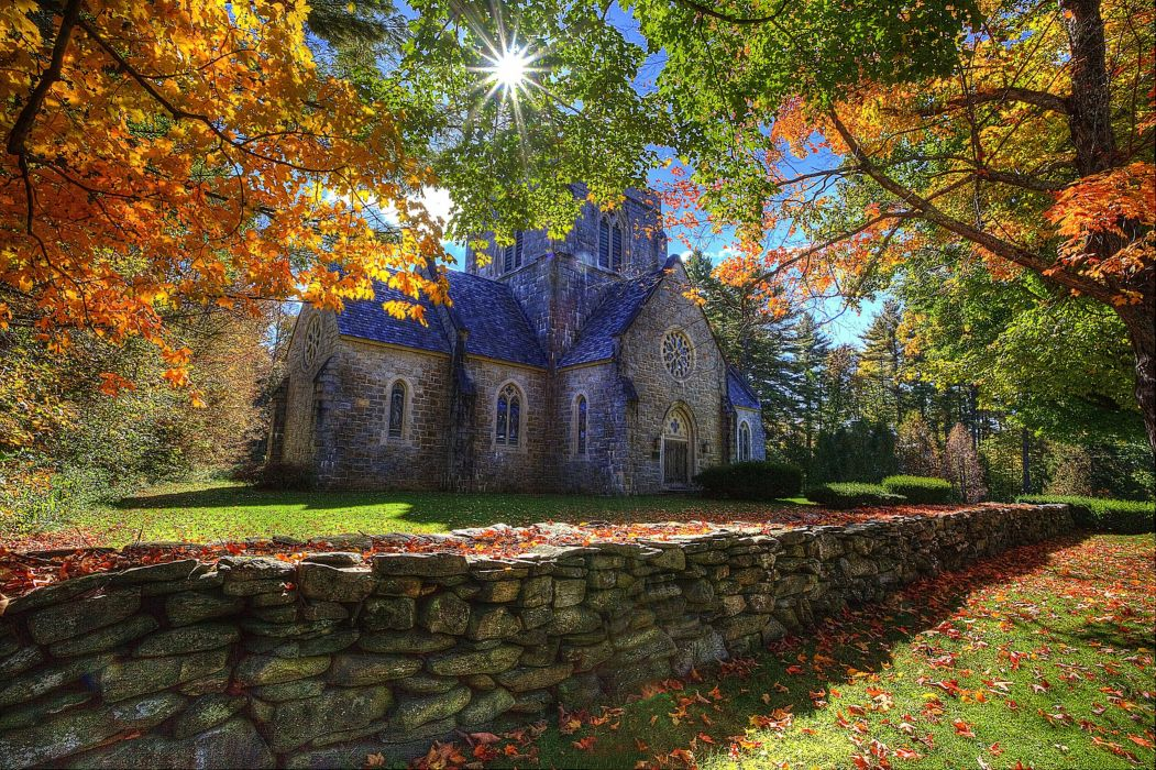 Thomas Kinkade Fall Desktop Wallpaper Bethlehem New Hampshire Autumn Trees Landscape Church