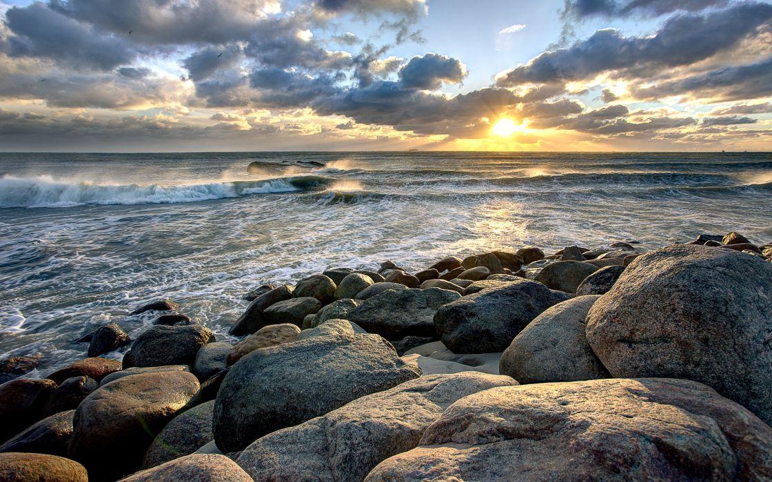 Serene Wallpapers Large Fall Sunset Sea Rocks Nature Waves Wallpaper 5720x3575