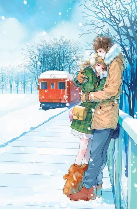 Strawberry Girl Cartoon Wallpaper Red Train Anime Couple Snow Romantic Love Tree Wallpaper