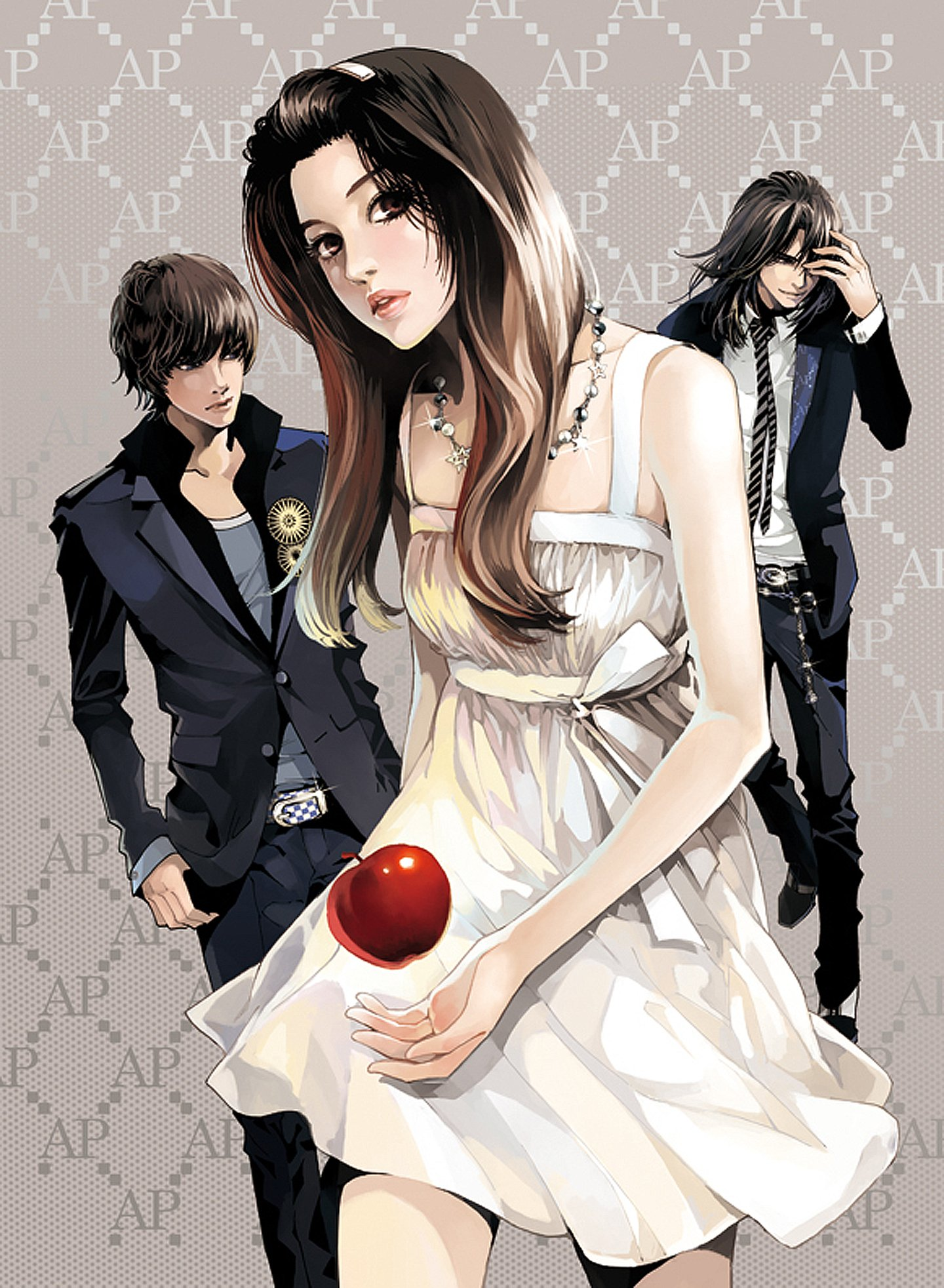 Cute Anime Watercolor Wallpaper Bad Boys Apple Red Beautiful Girl Boys Black Suit Dress Couples