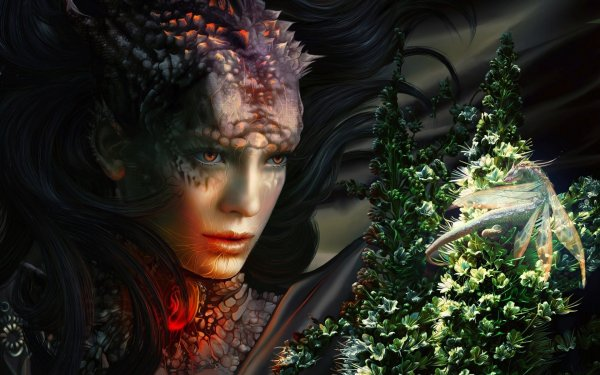 Fantasy 3d Art Magic Witch Red Eyes Dragon Wallpaper 1920x1200 489017 Wallpaperup