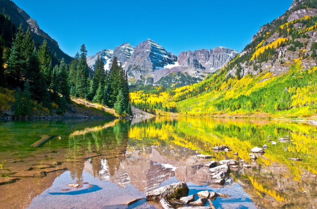 Fall Aspens Wallpaper Lake Autumn Sky Mountains Reflection Forest Maroon Bells