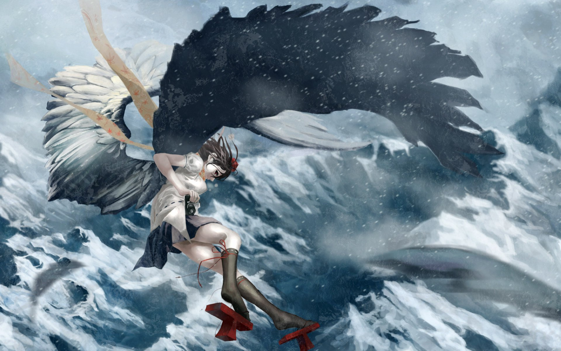 Snow Falling Wallpapers Free Download Anime Girl Fly Cloud Sky Wing Mountain Snow Wallpaper