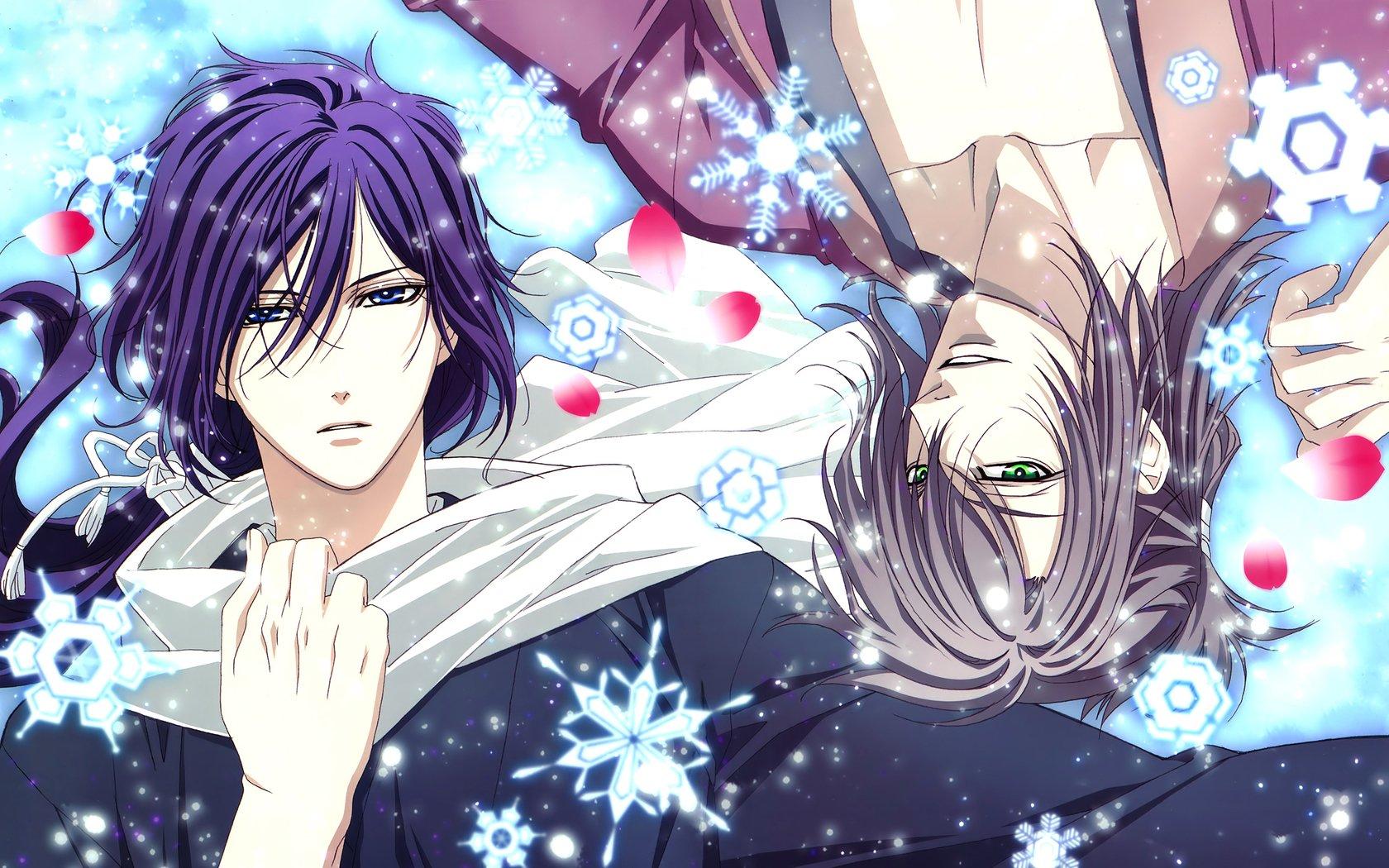 Demons pale cherry Samurai Saito Okita boys Petals sakura Winter Snowflakes Scarf anime Demons pale cherry Samurai Saito Okita boys Petals sakura ...