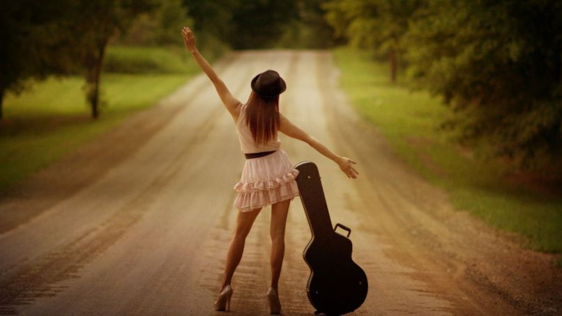 Alone On The Road Girl Guitar Legs Wallpaper 1920x1080 516613