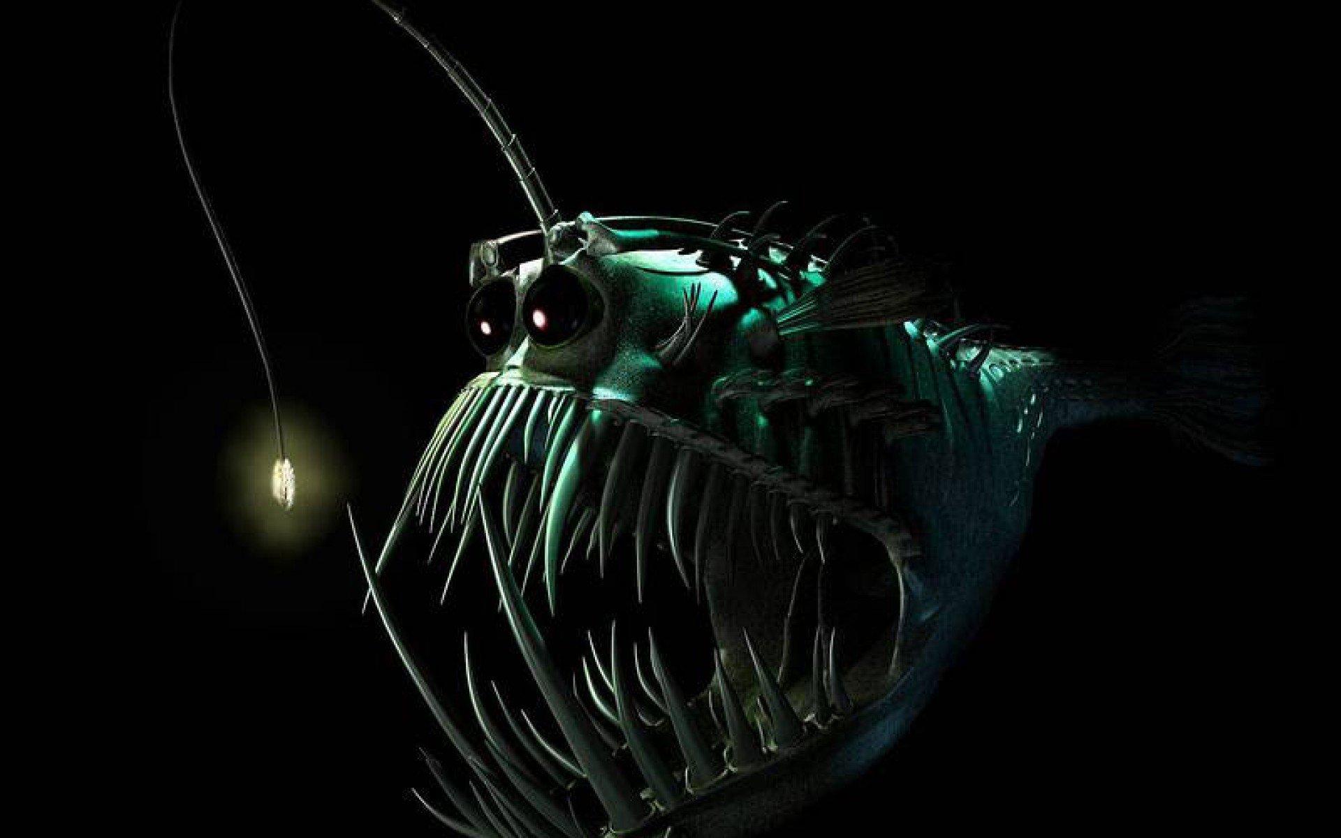 Tornado 3d Storm Live Wallpaper Anglerfish Fish Ocean Sea Underwater Dark Creepy Monster