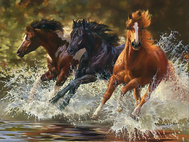 Art Horses Group Animal Water Wallpaper