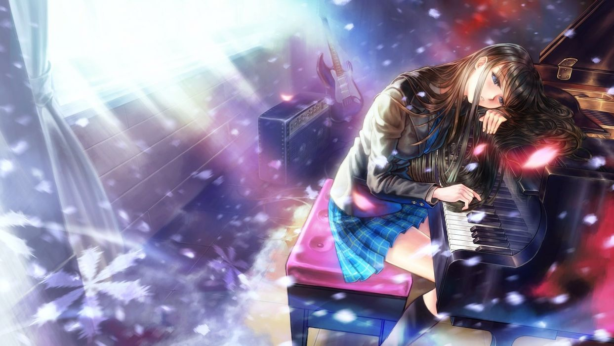 Girl With Guns Hd Wallpapers Anime Girl Piano Black Hair Blue Eyes Guitar Instrument