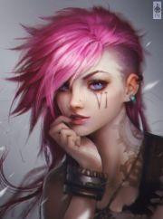 pink hair blue eyes punk girl fantasy