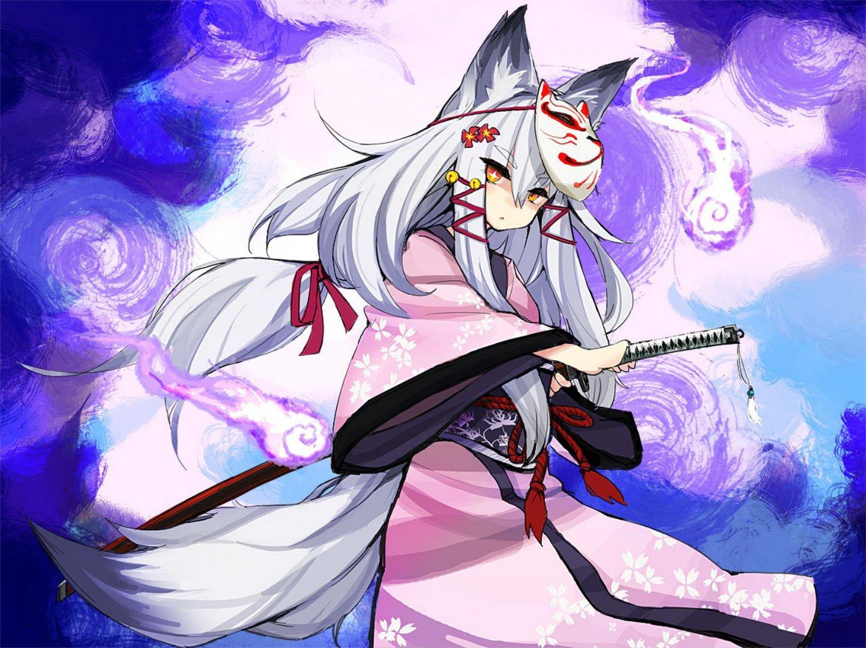 Cartoon Introvert Girl Wallpaper Animal Ears Bell Flowers Foxgirl Katana Kimono Long Hair
