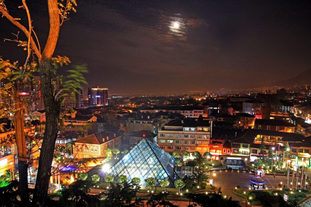 Moon night city bursa turkey light tree sky beauty
