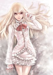 anime girl beauty white dress blonde