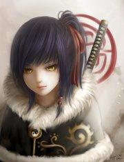 anime girl yellow eyes short hair